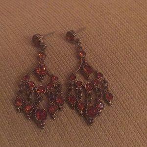 Dark orange chandelier earrings